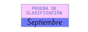 pruebas de clasificación - septiembre 2021